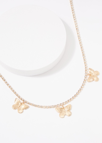 gold rhinestone chain butterfly charm necklace - Main Image