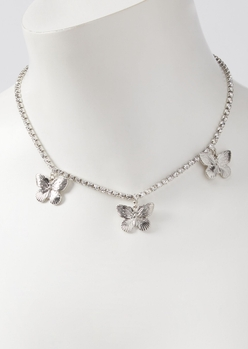 silver rhinestone butterfly charm necklace - Main Image