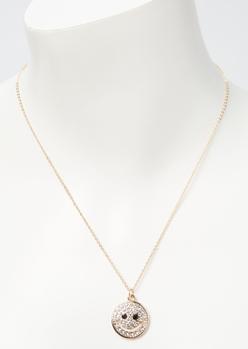 gold rhinestone smiley face charm necklace - Main Image