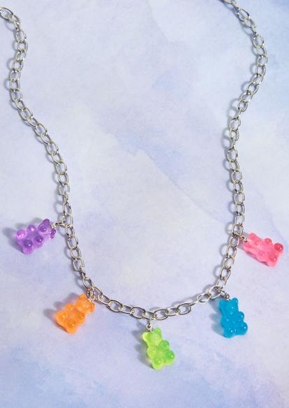 silver multicolor gummy bear charm necklace - Main Image
