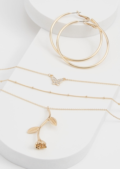 2-pack gold rose butterfly layered necklace and hoop set - Main Image