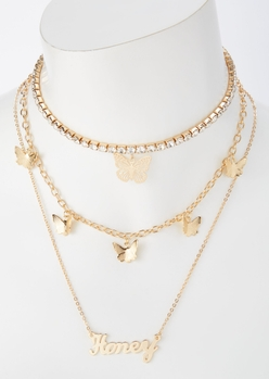 gold honey butterfly layered necklace set - Main Image