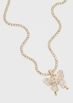 gold rhinestone butterfly necklace - Main Image