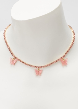 pink rhinestone butterfly charm necklace - Main Image