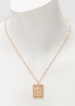 gold square rose chain necklace - Main Image