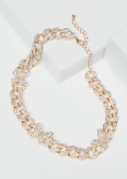 gold rhinestone butterfly chain necklace - Main Image