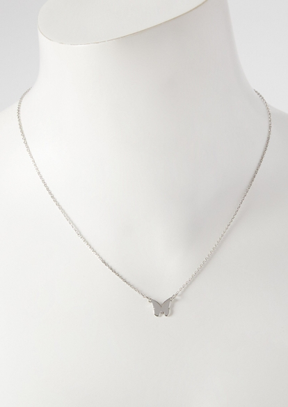 silver butterfly charm necklace - Main Image