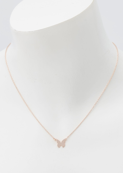 rose gold butterfly charm necklace - Main Image