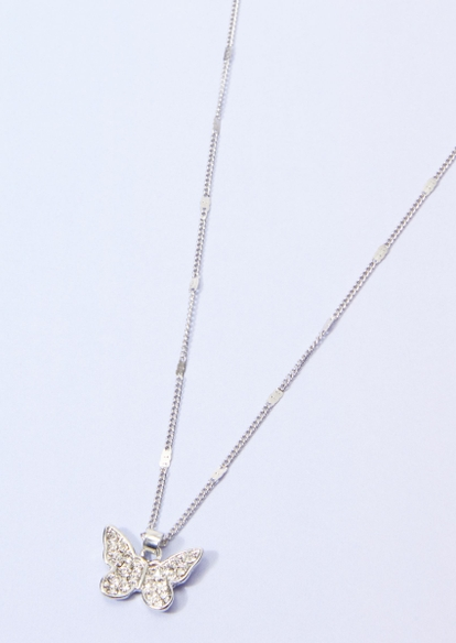 silver rhinestone butterfly charm dot chain necklace - Main Image