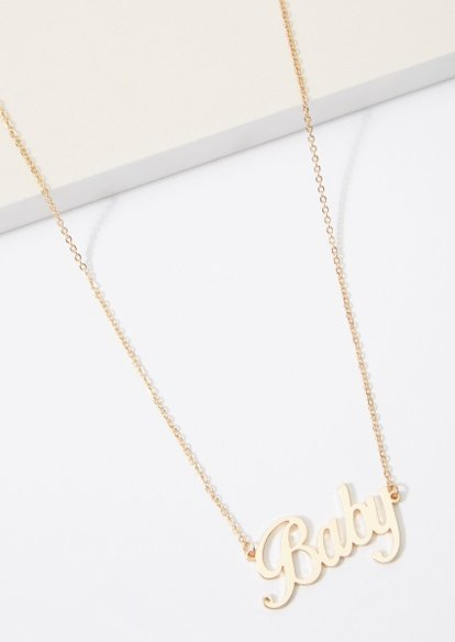 gold baby scripted charm necklace - Main Image