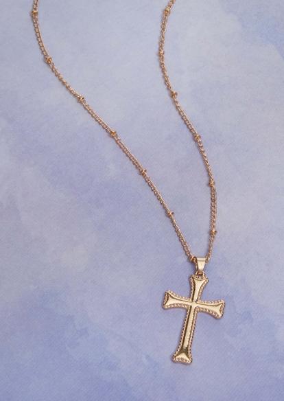 gold rhinestone cross heart charm necklace - Main Image