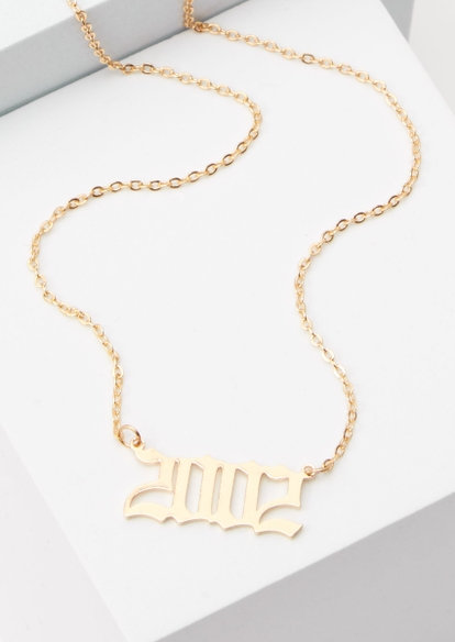 gold 2002 charm necklace - Main Image