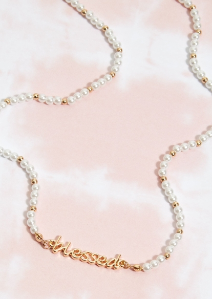 gold blessed pearl necklace - Main Image