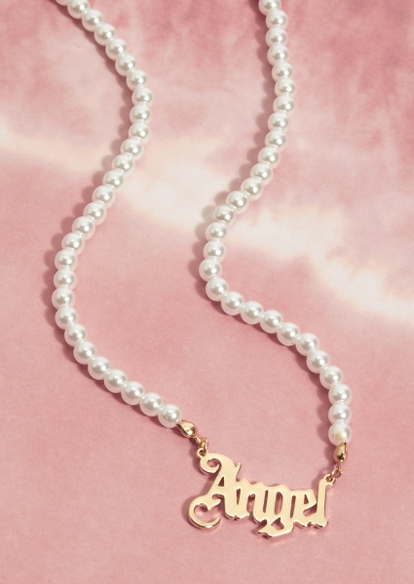 gold angel pearl necklace - Main Image