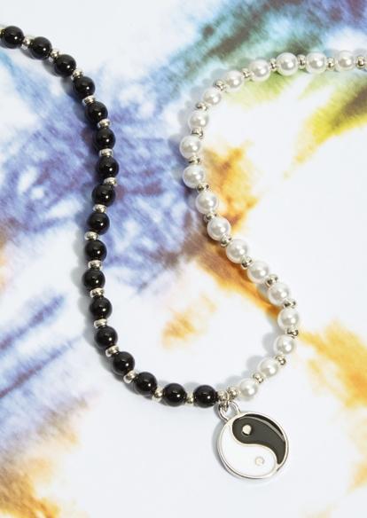silver yin yang black pearl necklace - Main Image