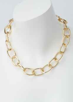 gold oval link chain necklace - Main Image