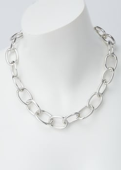 silver oval link chain necklace - Main Image
