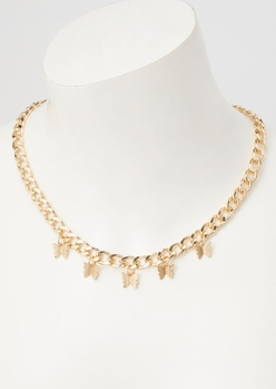 gold curb chain butterfly necklace - Main Image