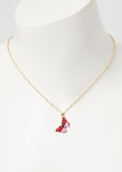 pink butterfly charm necklace - Main Image
