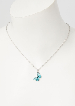 blue butterfly charm necklace - Main Image