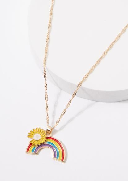 gold rainbow daisy charm necklace - Main Image