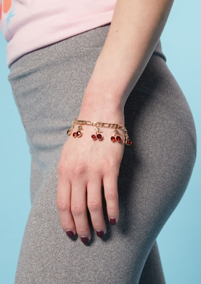 gold rhinestone cherry charm bracelet - Main Image