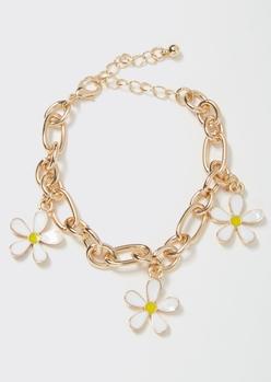 gold daisy charm bracelet - Main Image