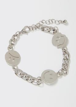 silver chunky smiley charm bracelet - Main Image