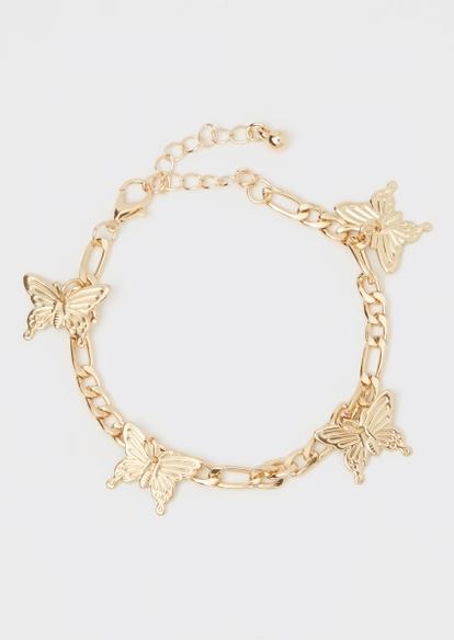 gold butterfly charm bracelet - Main Image