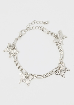 silver butterfly charm bracelet - Main Image