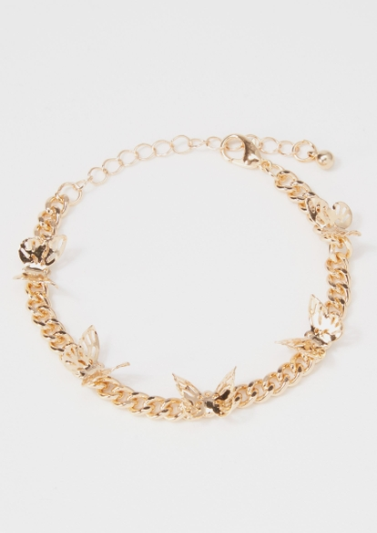 gold chunky butterfly chain bracelet - Main Image