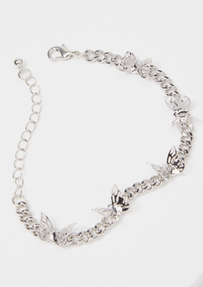 silver chunky butterfly chain bracelet - Main Image