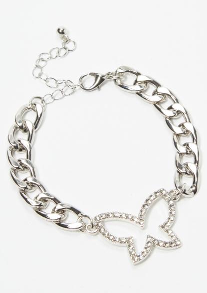 silver rhinestone butterfly bracelet - Main Image