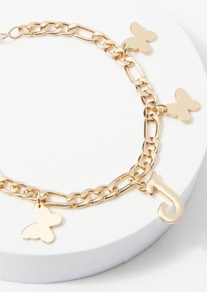 gold j initial butterfly charm bracelet - Main Image
