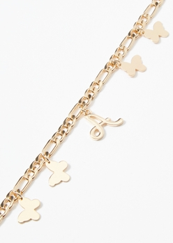 gold a initial butterfly charm bracelet - Main Image