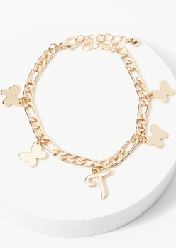 gold t initial butterfly charm bracelet - Main Image