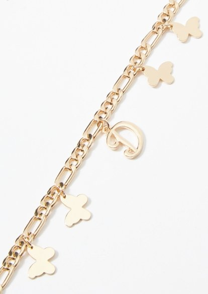 gold d initial butterfly charm bracelet - Main Image