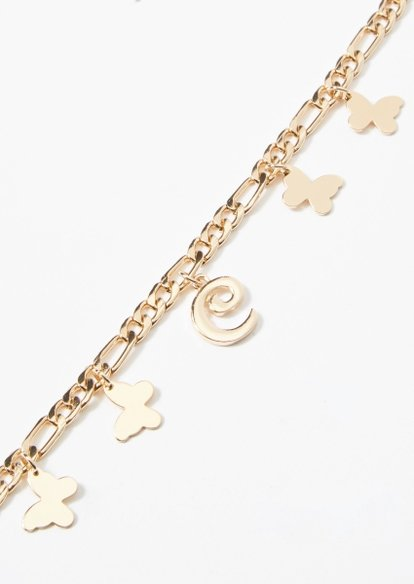 gold c initial butterfly charm bracelet - Main Image
