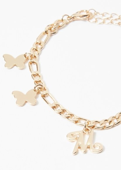 gold m initial butterfly charm bracelet - Main Image