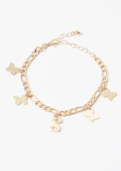 gold s initial butterfly charm bracelet - Main Image