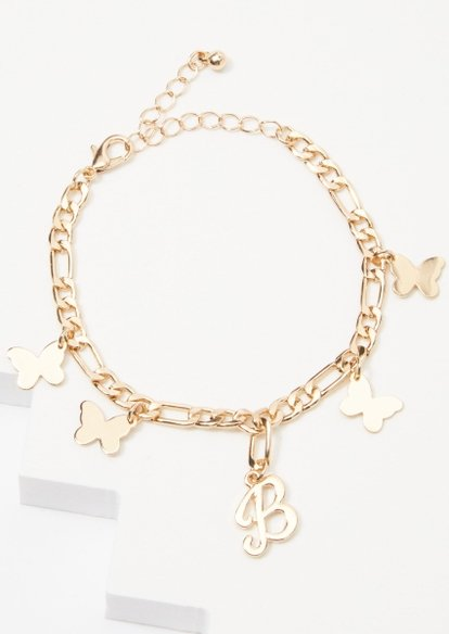 gold b initial butterfly charm bracelet - Main Image