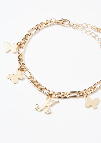 gold k initial butterfly charm bracelet - Main Image
