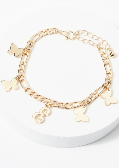 gold e initial butterfly charm bracelet - Main Image