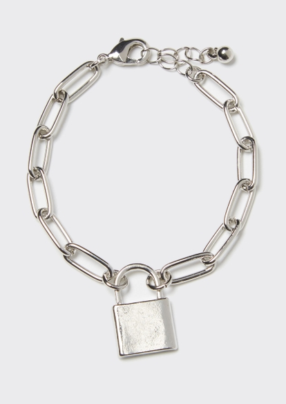 silver chain lock charm bracelet - Main Image