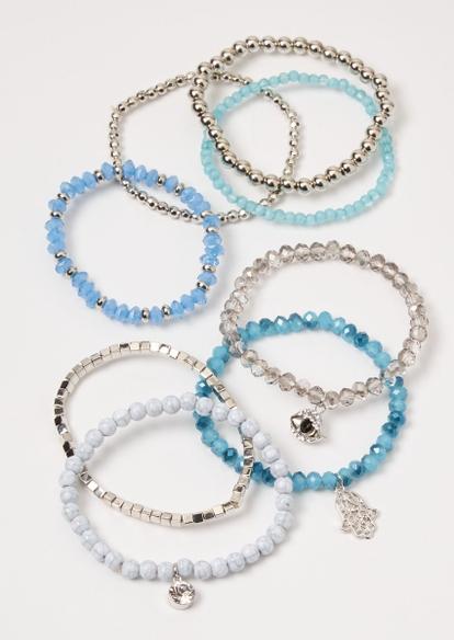 8-pack blue butterfly stretch bracelets - Main Image