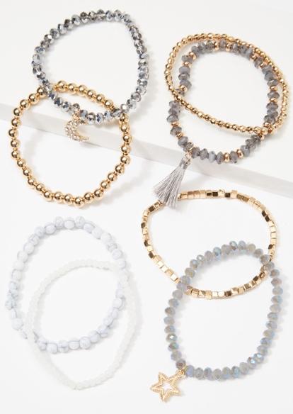 8-pack moon stretch beaded bracelet set - Main Image