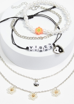 5-pack silver yin yang smiley face daisy pearl necklace set - Main Image