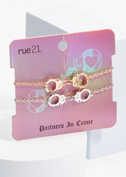 2-pack mixed metal cuff charm bff bracelet set - Main Image