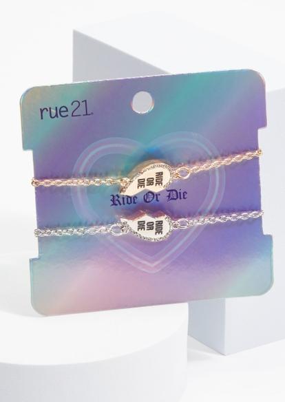 2-pack mixed metal ride or die heart bff bracelet set - Main Image