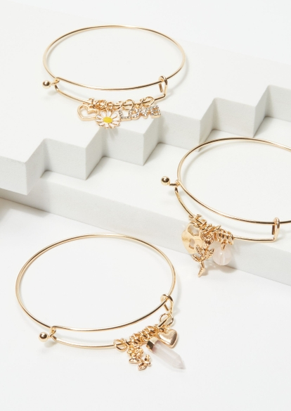 3-pack gold heart locket bangle set - Main Image